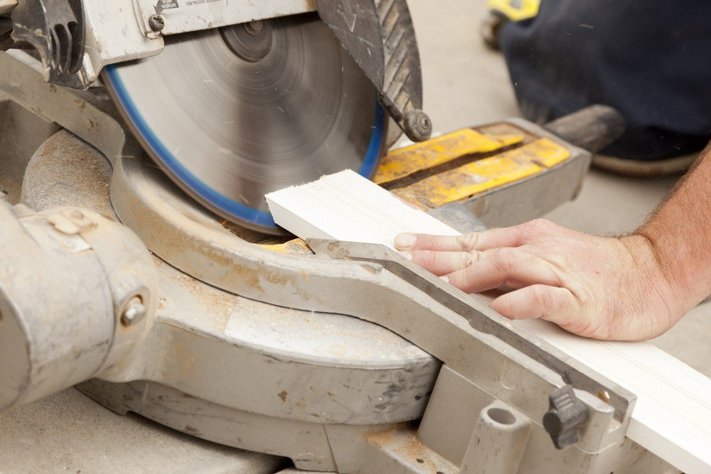 image of miter saw making bevel cut