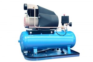 image of blue horizontal air compressor