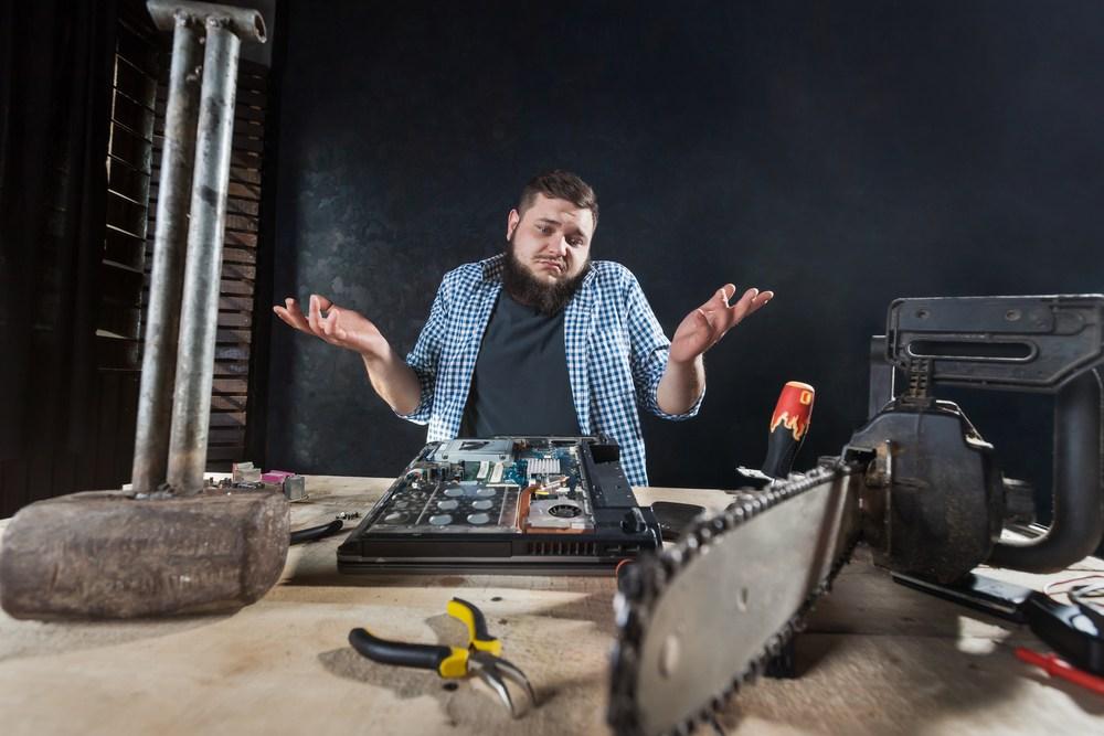 service technician throwing up hands