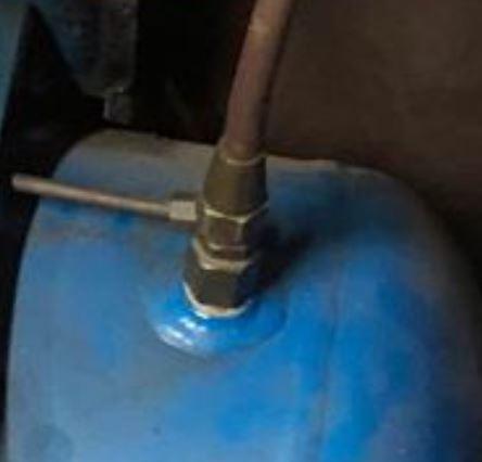 closeup of compressor check valve